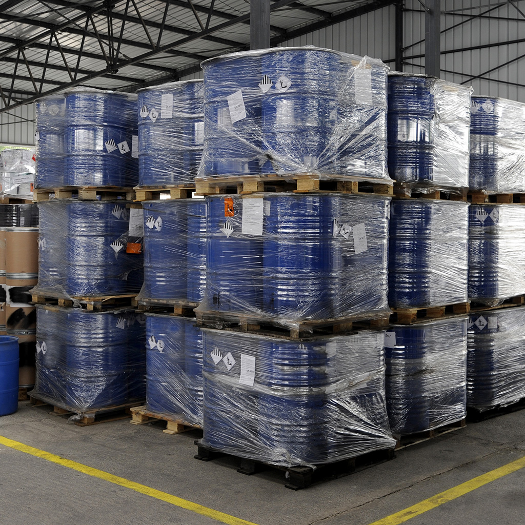 Chemical drums with labels ready for dispatch ion warehouse