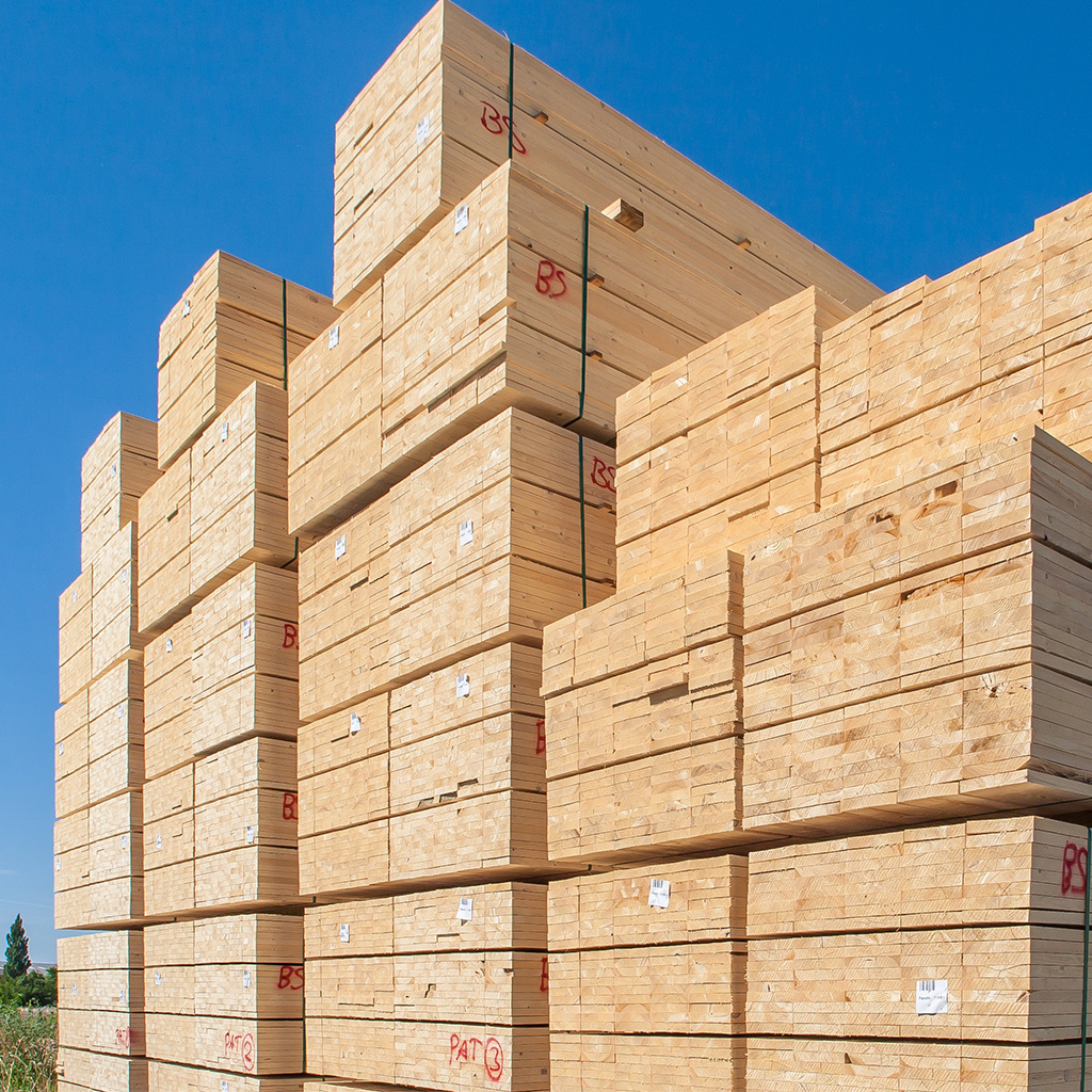 Untreated timber in large stacks