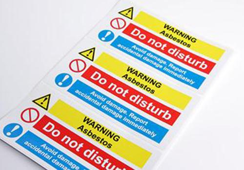 Full colour vinyl instruction label for warehouse