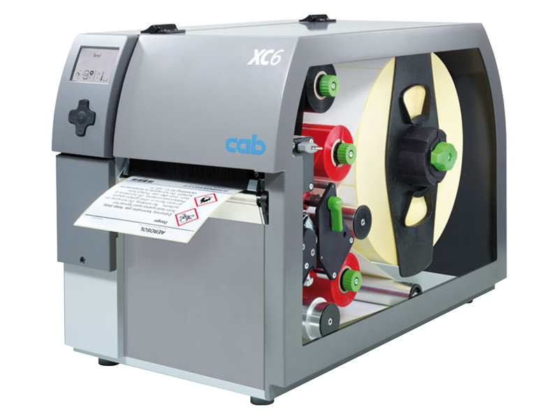 CAB XC6 two colour thermal transfer printer with chemical label