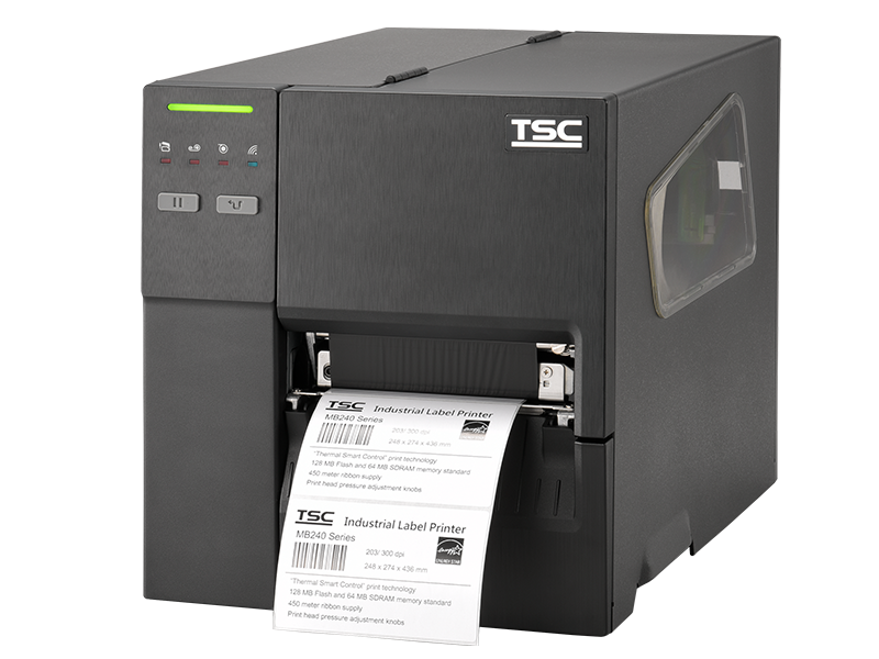 TSC MB range of thermal transfer printers printing black and white label with a 4 inch max print width