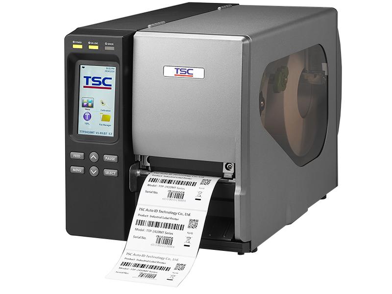TSC MT Range of thermal transfer printers printing black and white label