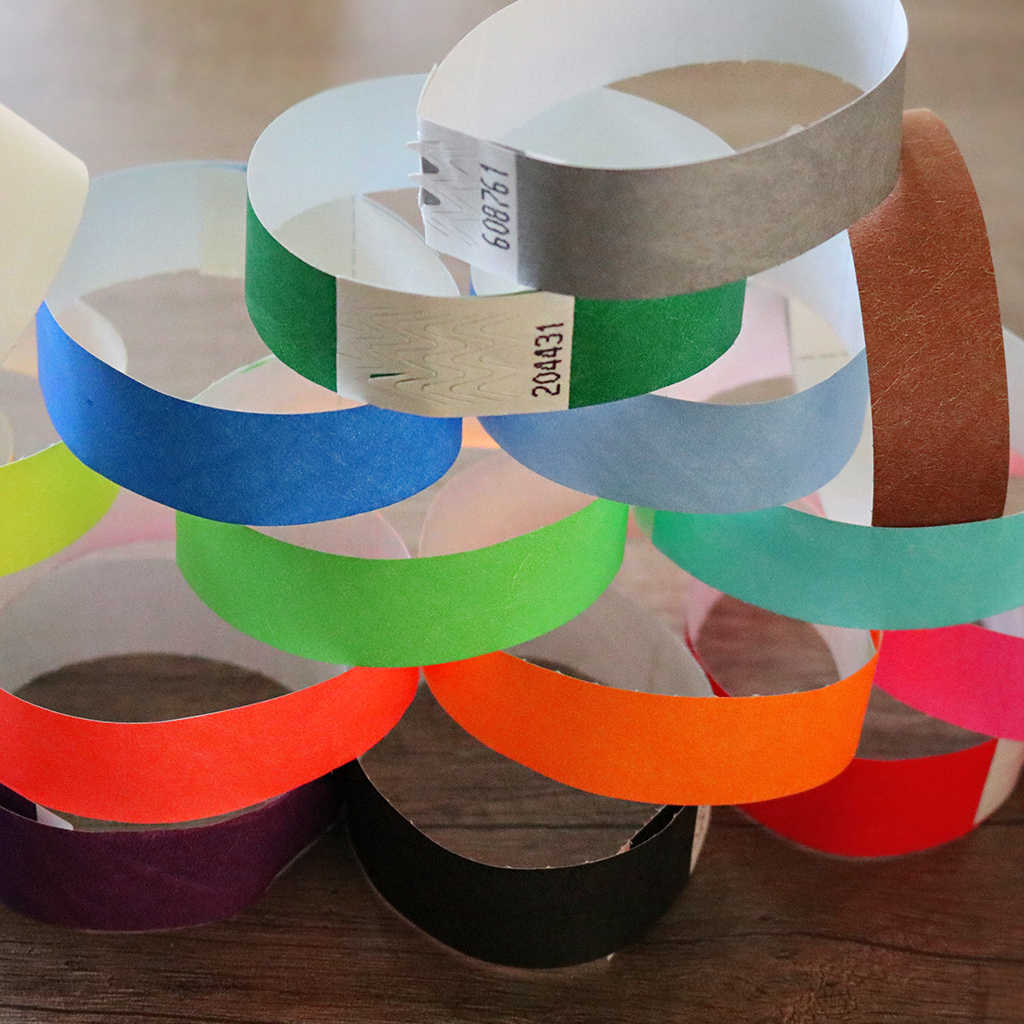 Coloured wristbands piled up