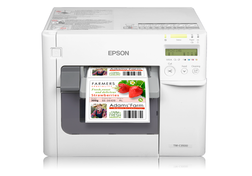 Epson C3500 inkjet printer with label being printed