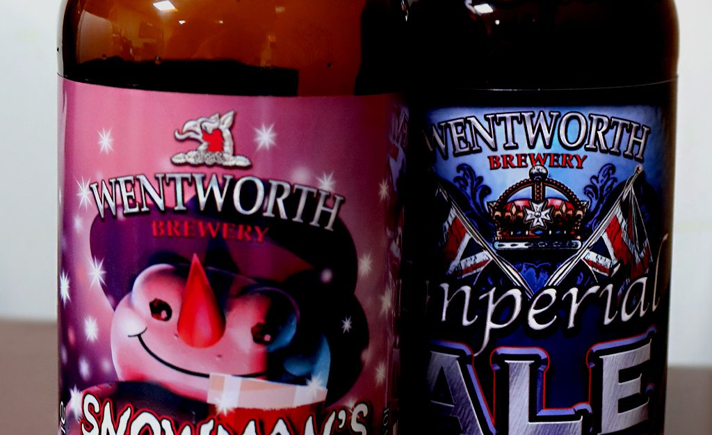 Colourful vinyl bottle labels for Wentworth Brewery