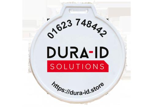 White membership tag with full colour digital print
