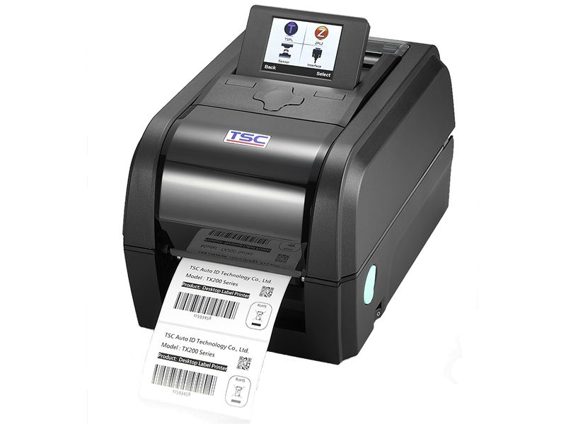 TSC TX range of thermal transfer printer printing black and white label