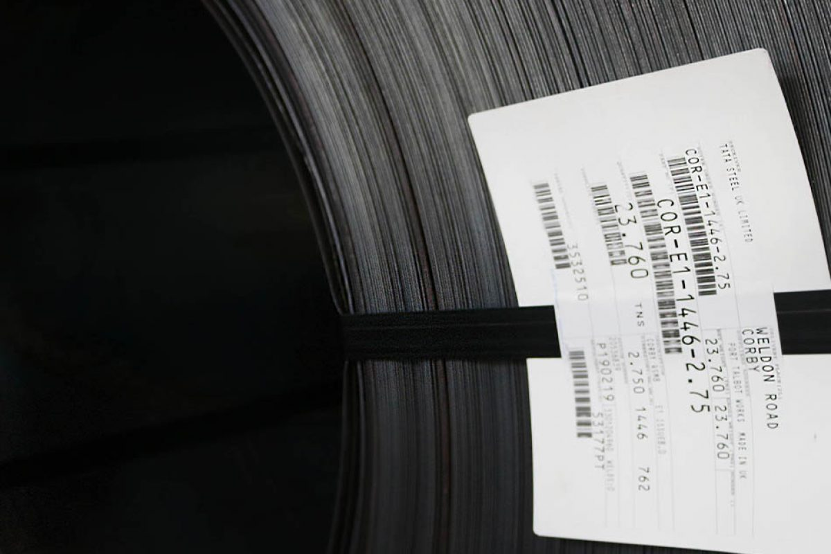 large roll of flat coil with ID tag