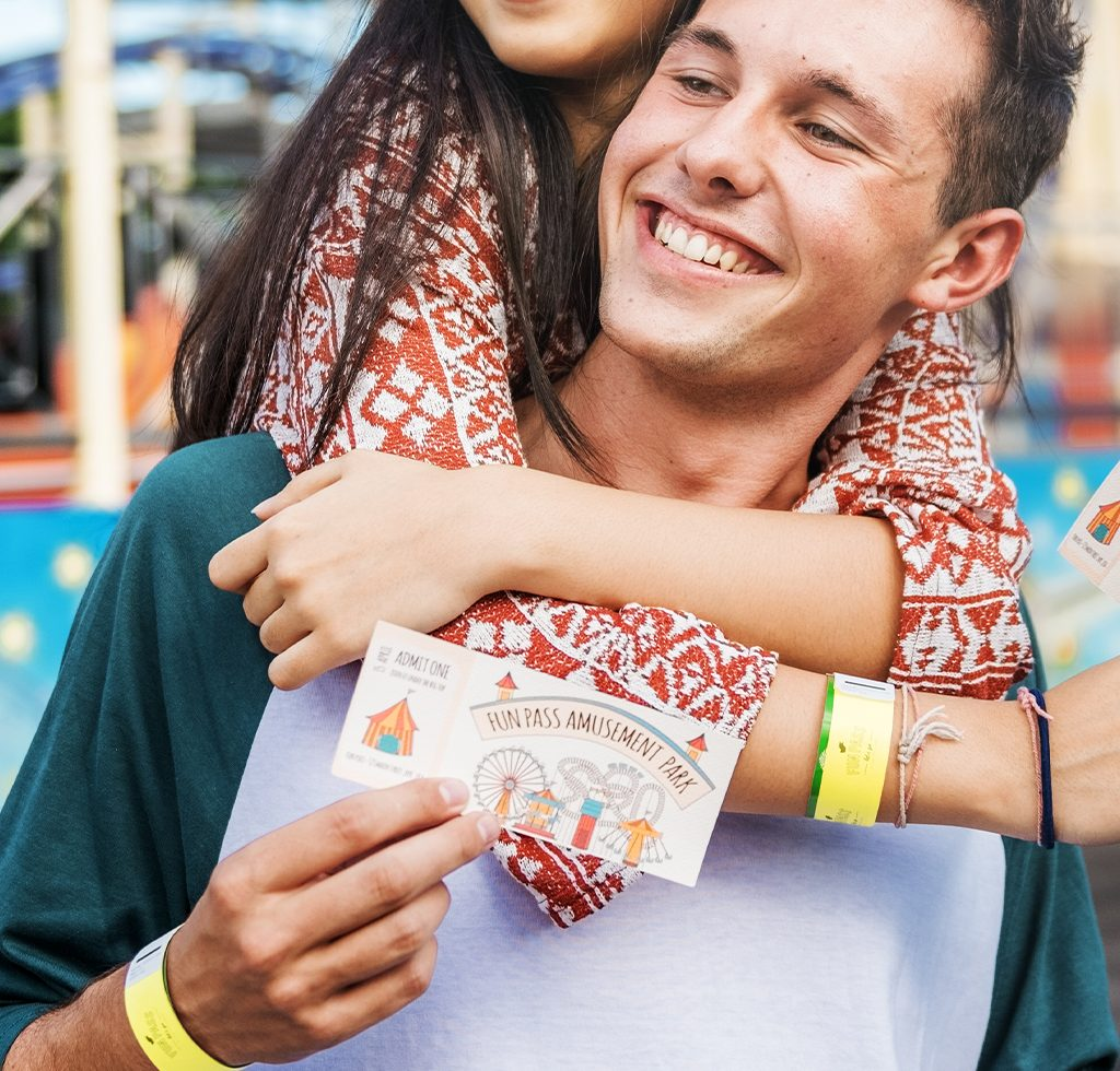 Tyvek wristbands being used at an amusement park for entry purposes